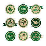 Eco Friendly Organic Natural Product Web Icon Set Retro Green Logo. Flat Vector Illustration Stock Images