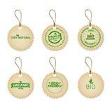 Eco Friendly Organic Natural Product Web Icon Tag Set Green Logo Stock Image