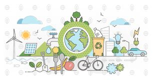 Free Eco Friendly Outline Concept Clean Environment Vector Illustration Royalty Free Stock Photos - 163615248