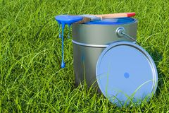 Eco-friendly paint concept. Can with paint and brush in the gree. N grass, 3D Stock Images