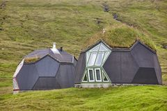Eco friendly picturesque houses in Faroe Islands. Sustainable architecture