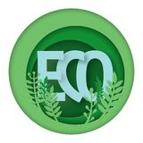Eco friendly product logo with plants elements. royalty free stock photography