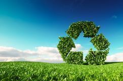 Eco friendly recyclation concept. 3d rendering of green recycle. Icon on fresh spring meadow with blue sky in background Royalty Free Stock Photos
