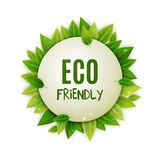 Eco friendly round banner, green leaves, vector illustration Stock Photos
