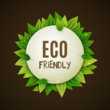 Eco friendly round banner, green leaves, vector illustration Royalty Free Stock Photography