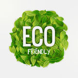 Eco friendly round banner, green leaves, vector illustration Stock Photo