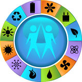 Eco friendly round icons - wheel Stock Image