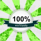 100% eco friendly. Round retro vintage recycled sticker Stock Images