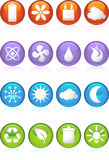 Eco friendly round web buttons. A set of 16 ecologically friendly round shiny glossy web buttons Royalty Free Stock Photos