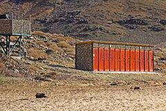 Eco friendly showers in Richtersveld. Eco friendly solar powered showers in Richtersveld National Park, South Africa royalty free stock photos