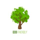 Eco friendly sign with green tree Royalty Free Stock Photo