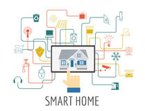 Eco friendly smart house concept. Infographic template. Flat sty Stock Photography