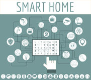 Eco friendly smart house concept. Infographic template. Flat sty Stock Photo