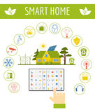 Eco friendly smart house concept. Infographic template. Flat sty Stock Image