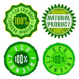 Eco friendly stamp. Set of ecology organic badge, label, icon. Vector illustration Stock Photos