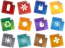 Eco friendly sticker buttons. A set of 12 ecologically friendly sticker web buttons Royalty Free Stock Photos