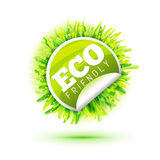 Eco friendly sticker with grass Royalty Free Stock Image