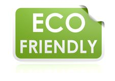 Eco friendly sticker. Hi-res original 3d-rendered computer generated artwork Royalty Free Stock Photo