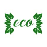 Eco friendly sticker, tag or label with green Royalty Free Stock Photos