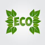 Eco friendly sticker, tag or label with green Royalty Free Stock Photo