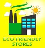 Eco Friendly Stores Represents Green Shops 3d Illustration. Eco Friendly Stores Factory Represents Green Shops 3d Illustration Royalty Free Stock Images