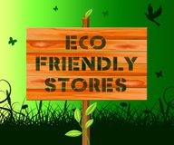 Eco Friendly Stores Means Green Shops 3d Illustration. Eco Friendly Stores Sign Means Green Shops 3d Illustration Royalty Free Stock Images
