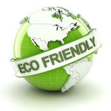 Eco friendly symbol with globe, 3d render Royalty Free Stock Photography