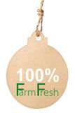 Eco friendly tag, 100% farm fresh. Clipping path Stock Image