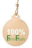Eco friendly tag, 100% farm fresh Stock Image