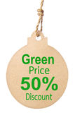 Eco friendly tag, Green price 50% Discount. Royalty Free Stock Images