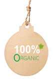 Eco friendly tag, 100% organic. Stock Photography