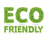 Eco friendly text of green leaves Stock Photo