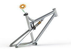 Eco Friendly Transportation. Bicycle frame with orange flower Royalty Free Stock Photography