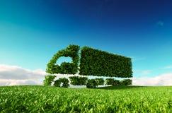 Eco friendly transportation concept. 3d rendering of green green stock illustration