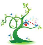 Eco-friendly tree with love birds vector illustration