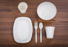 Eco friendly Unbleached plant fiber dishware set. Plate, spoon ,cup Royalty Free Stock Photo