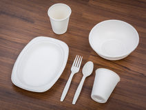 Eco friendly Unbleached plant fiber dishware set. Plate, spoon ,cup Royalty Free Stock Photography