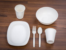 Eco friendly Unbleached plant fiber dishware set. Plate, spoon ,cup Stock Photography