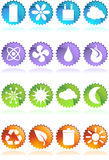Eco friendly web buttons - label. A set of 16 ecologically friendly round shiny glossy web buttons - label style Royalty Free Stock Images