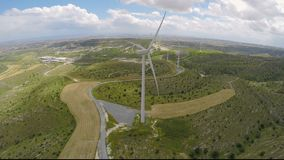 Eco-friendly wind farms generating pure energy without damaging the environment. Stock footage stock video