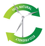 Eco friendly windmill sign illustration Royalty Free Stock Image