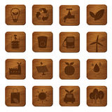 Eco Friendly Wooden Buttons Royalty Free Stock Photography