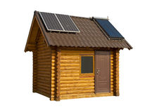 Eco-friendly wooden house. On a white background Royalty Free Stock Images