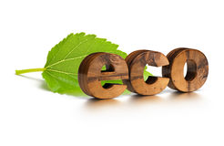 Eco friendly word and green leaf Royalty Free Stock Photos
