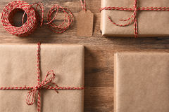 Eco Friendly Wrapped Presents Stock Photography