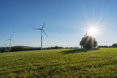 Eco frindly windmill for electricity production Stock Photos