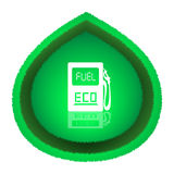 Eco Fuel Concept. Big green leaf with white gas station icon over it. Vector illustration, isolated on white background stock illustration