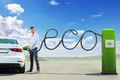 Eco fuel concept. Man refueling Eco fuel