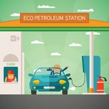 Eco fuel petrol station vector concept. In flat style Stock Photography
