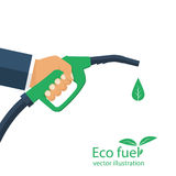 Eco fuel. vector. Eco fuel. Green bio gasoline pump. Petrol station sign. Ecological fuel concept. Man holding filling hose in hands. Gas nozzle drop natural Royalty Free Stock Photos